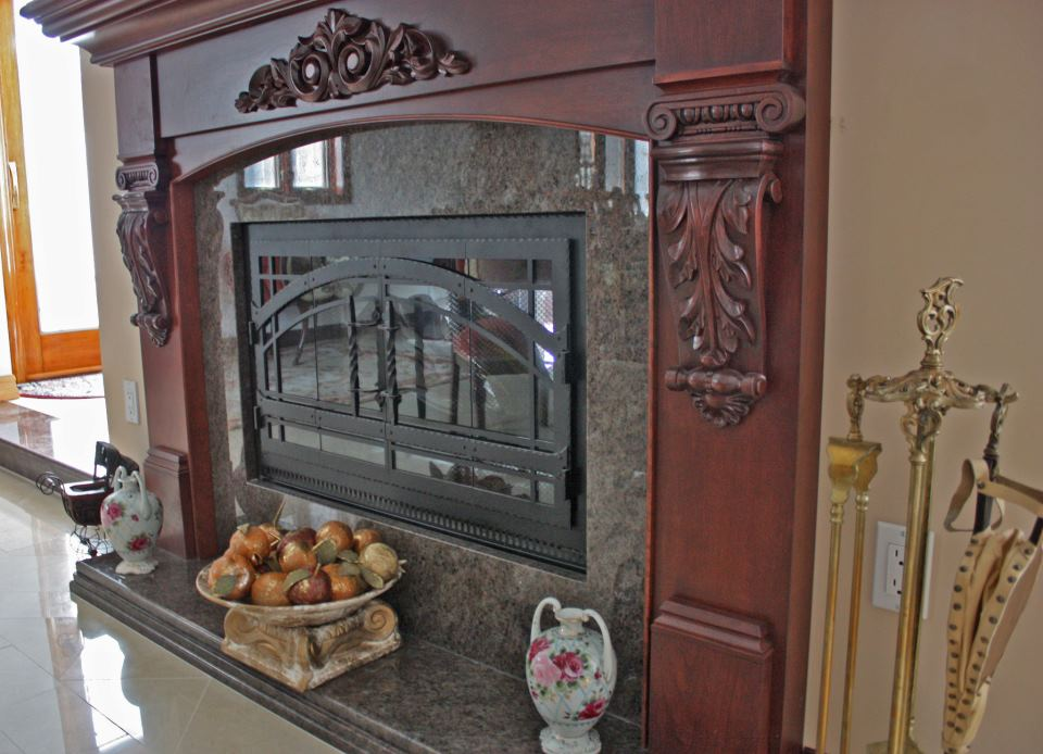 Heatilator See-Thru Wood Burning Fireplace w/ Custom Wood Mantle ...